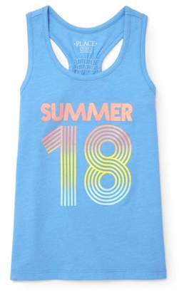 Children's Place The Girls' Racerback Graphic Tank