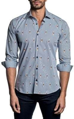Jared Lang Spread Collar Trim-Fit Button-Down Shirt