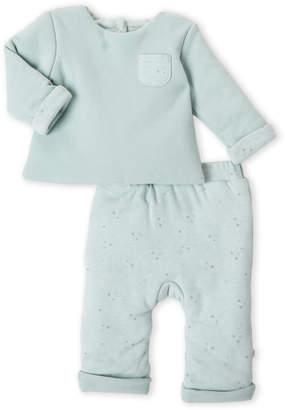 Absorba Newborns) Two-Piece Green Star Muslin Top & Pants Set