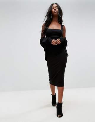 ASOS Thick Strap Square Neck Midi Bodycon Dress $28 thestylecure.com