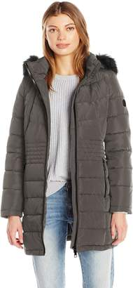 Calvin Klein Women's Down Puffer Long Coat with Faux Fur Trimmed Hood