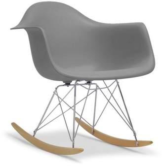 Baxton Studio Dario Plastic Mid-Century Modern Shell Rocking Chair