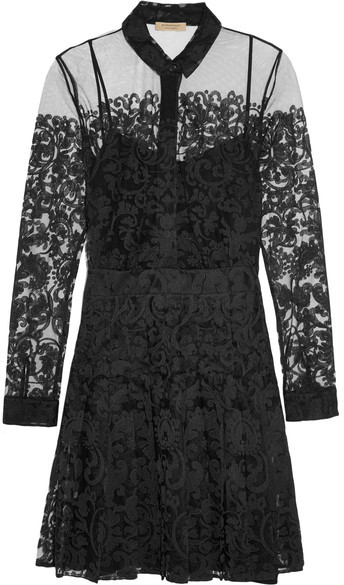 Burberry  Burberry - Chantilly Lace Mini Dress - Black