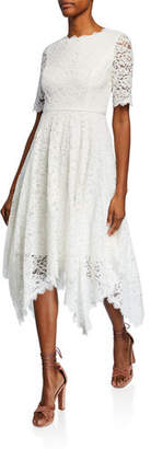 Shani Jewel-Neck Elbow-Sleeve Lace Dress w/ Handkerchief-Hem
