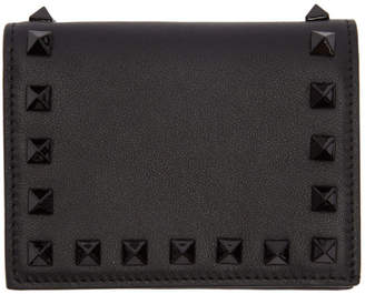Valentino Black Garavani Small Rockstud French Flap Wallet