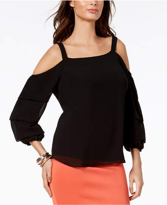 Thalia Sodi Cold-Shoulder Ruffle-Sleeve Top, Created for Macy's