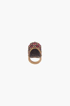 Alexander McQueen Ruby Crystal-Embellished Glory Skull Ring