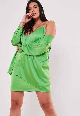 Missguided Plus Size Lime Co Ord Satin Shirt Dress
