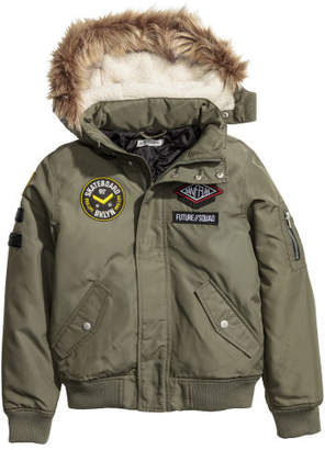H&M Bomber Jacket with Patches - Green