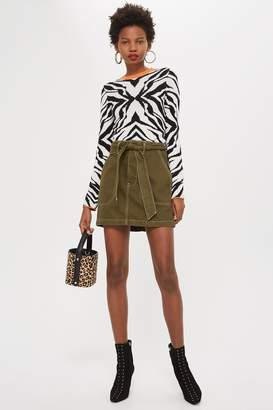 Topshop Khaki Denim Utility Skirt
