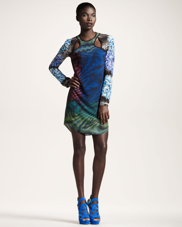 Peter Pilotto Mixed-Print Cutout Dress