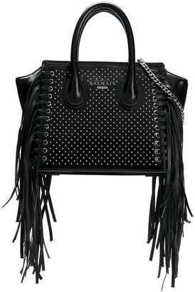 Balmain fringed studded tote bag