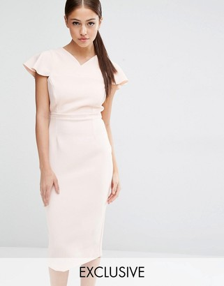 Vesper Pencil Dress With Frill Sleeve $85 thestylecure.com