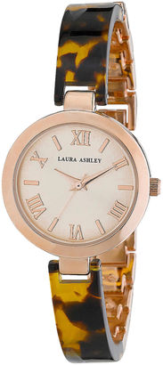Laura Ashley Womens Tortoise/ Rose Gold Resin Link Watch La31002Tor $345 thestylecure.com