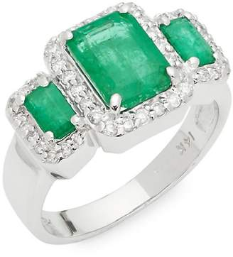 Effy Women's Emerald, Diamond and 14K White Gold Ring