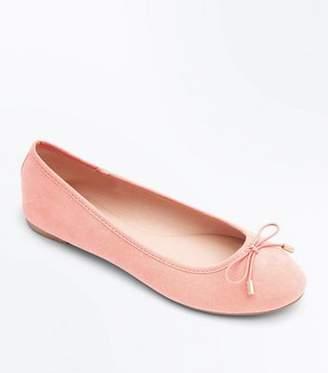 New Look Coral Suedette Bow Ballet Pumps