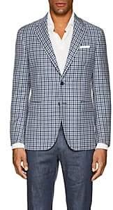 John Vizzone Men's Checked Virgin Wool Two-Button Sportcoat - Navy