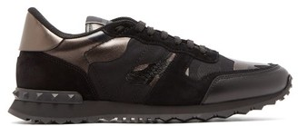 Valentino Camouflage Rockrunner Suede And Leather Trainers - Mens - Black Multi