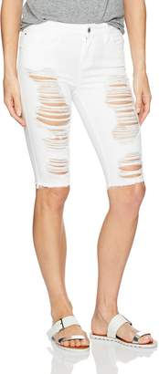 GUESS Women's Solange Destroy Skinny Bermuda Short, Optic White W