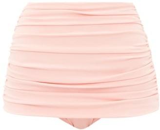 Norma Kamali Bill High Rise Ruched Bikini Briefs - Womens - Pink