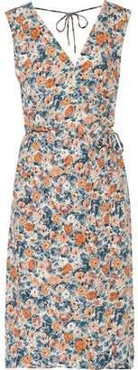 Current/Elliott The Sleeveless Wrap-effect Floral-print Crepe Dress