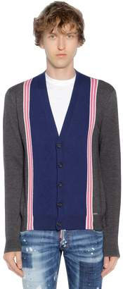 DSQUARED2 Striped Wool Knit Jacquard Cardigan