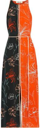 Diane von Furstenberg Open-back Printed Silk Crepe De Chine Midi Dress - Orange