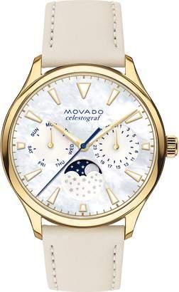 Movado Heritage Celestograf Leather Strap Watch, 36mm