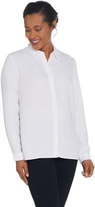 Elizabeth & Clarke Stain-Repellent Button Front Long Sleeve Top