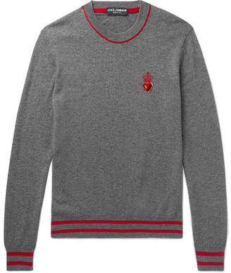 Dolce & Gabbana Slim-Fit Appliqued Cashmere and Virgin Wool-Blend Sweater - Gray