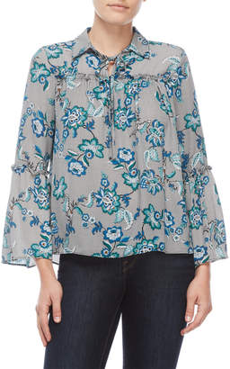 NY Collection Petite Printed Bell Sleeve Top