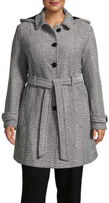 Liz Claiborne Woven Belted Heavyweight Overcoat Plus