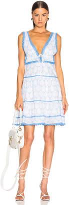 Jonathan Simkhai Stripe Eyelet Gathered Mini Dress in White & Blue   FWRD