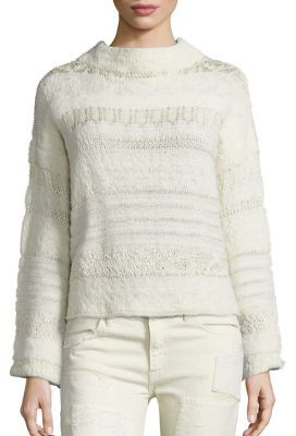 Polo Ralph Lauren Wool-Blend Jacquard Mockneck Sweater $298 thestylecure.com