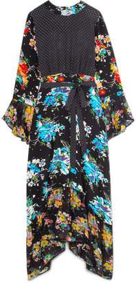 RIXO - Chrissy Patchwork Printed Silk Crepe De Chine Midi Dress - Black