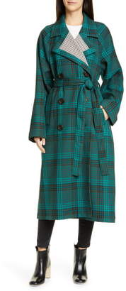 See by Chloe Belted Double Face Plaid Coat