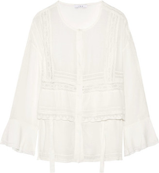 IRO - Crochet-trimmed Voile Blouse - Ivory $380 thestylecure.com