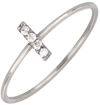 Bony Levy 18K White Gold Pave Diamond Petite Bar Ring - 0.02 ctw