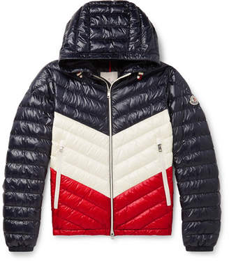 1cb68d807e4fb Moncler Palliser Slim-Fit Colour-Block Quilted Shell Hooded Down Jacket