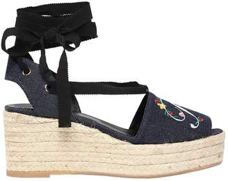 Roger Vivier 65mm Embroidered Denim Lace-Up Wedges