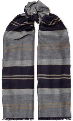 Johnstons of Elgin Fringed Striped Cashmere Stole - Navy