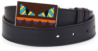 Fendi Striped Monster-Face Leather Belt $500 thestylecure.com