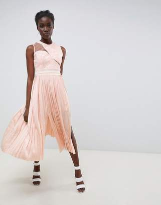 Three floor Asymmetric Shoulder Pleated Midi Dress