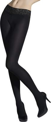 Marilyn Womens Fashion Low Waist Microfiber Tights Silicone Lace Waistband 50 Denier