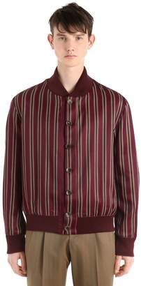 Etro Striped Cotton Blend Satin Bomber Jacket