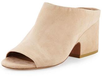 Vince Petra Suede Block-Heel Mule Sandal $295 thestylecure.com