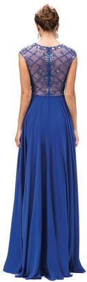 Dancing Queen Cap-Sleeve Prom Dress with Embellished Sheer Bodice $198 thestylecure.com