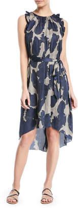 Halston Printed Sleeveless Self-Tie High-Low Dress