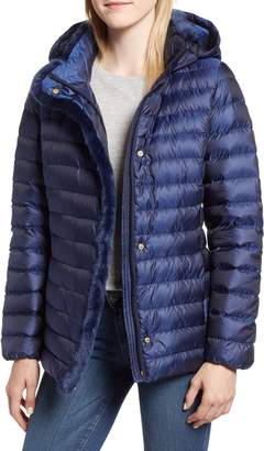 Cole Haan Quilted Down Jacket with Faux Fur Trim