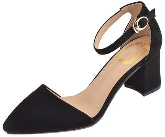 CAMSSOO Women's Pointy Toe Mid Chunky Heels D'orsay Dress Pump Shoes Black Suede 5 US M